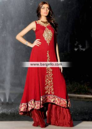 Indian Designer Anarkali Dresses Fairfield New Jersey NJ USA Red Sharara Dresses
