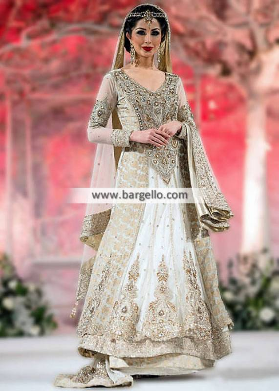 Amazing Off-White Bridal Lehenga Indian Pakistani Designer Wedding Lehenga