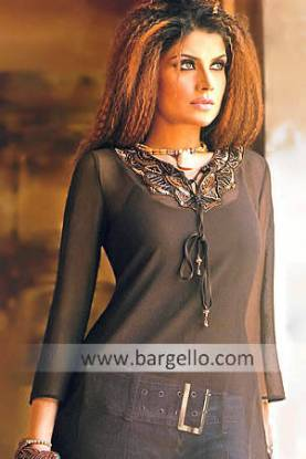 Designer Black Kurti UK USA Canada Embellished Kurti Designs Pakistan