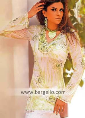 Designer Embroidered Kaftan, Pakistani Tunic Kurti Top