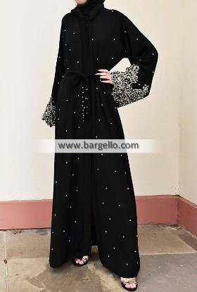 Bonita Black Pearl and Lace Open Abaya Al Rayyan Qatar Beautiful Jilbab