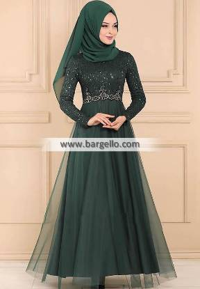 Deep Jungle Green Water Lily Fairfax Maryland Classic Embroidered Jilbab