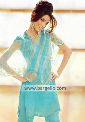 Blue Topaz Crinkle Chiffon Casual Dress Casual Fashion in Pakistan