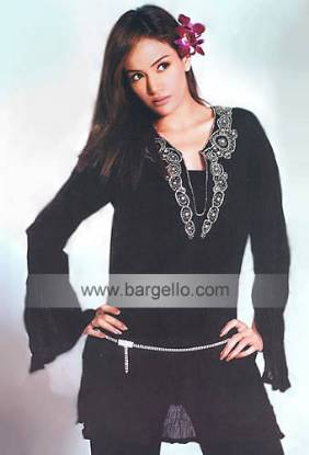 Black Hand Embellished Summer Kaftan Tops Embroidered Kaftan Top Sellers UK