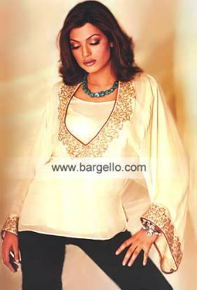 Ivory Tunic Top Handmade embroidery on Kaftans Tunics Kurtis London, New York, Karachi, Perth