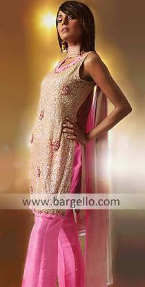 Taupe and Pink Glittering Sequined Hand Made Dress