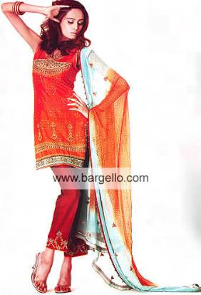 Orange Red Pure Jamawar and Hand Made Chunrdi Dress
