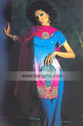 Blue, deep pink multiple colours beaded shirt and trouser