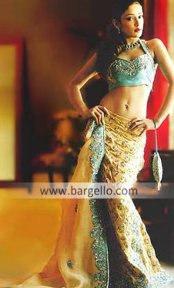 Turquoise and Golden Beaded Bridal Skirt with Weil