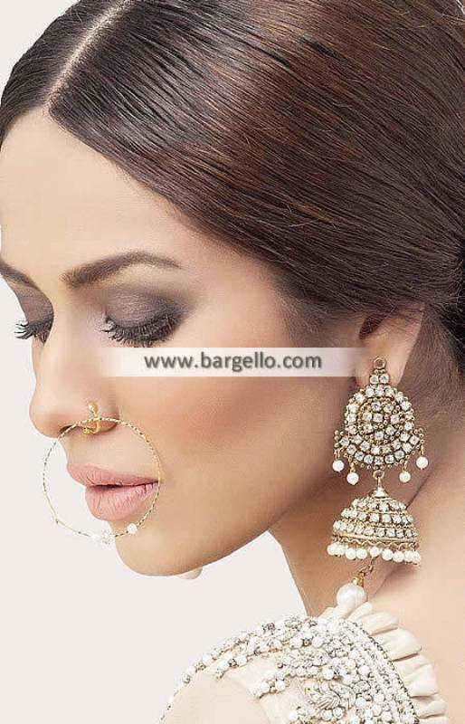 Kashmiri Jhumka Earrings London UK Gold Plated Zircon JHUMKA EARRINGS