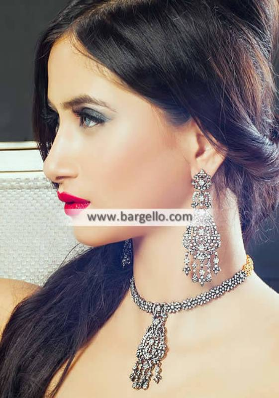 Zircons Rhodium Plated Jewelry Pakistani Designer Jewellery Sets Lawrenceville New Jersey NJ US