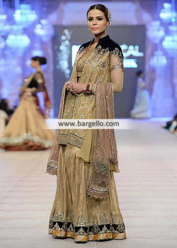 Asifa Nabeel Gharara Dresses Collection PFDC Wedding Gharara and Heavy Dupatta Dress