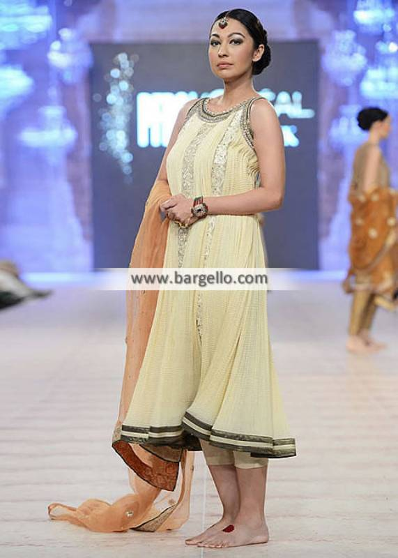 Asifa & Nabeel Long Party Dresses Pakistan Stylish Party Dresses in Crushed Crinkle Chiffon
