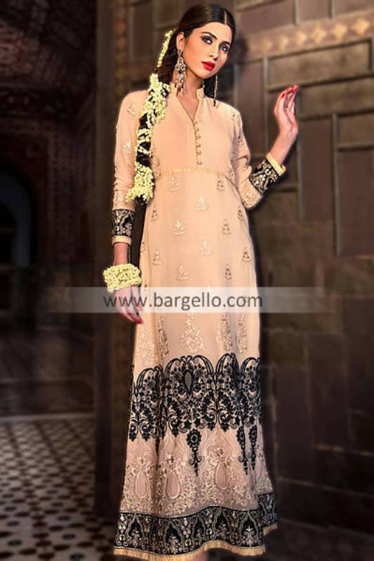 Latest Pakistani Wedding Shadi Dresses in Peach Color 2013-14 by Threads and Motifs