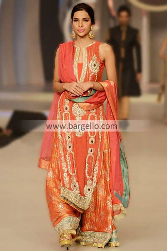 Orange Party Wears by Pakistani Designer Asifa and Nabeel at Bridal Couture Week 2013 Plano Texas
