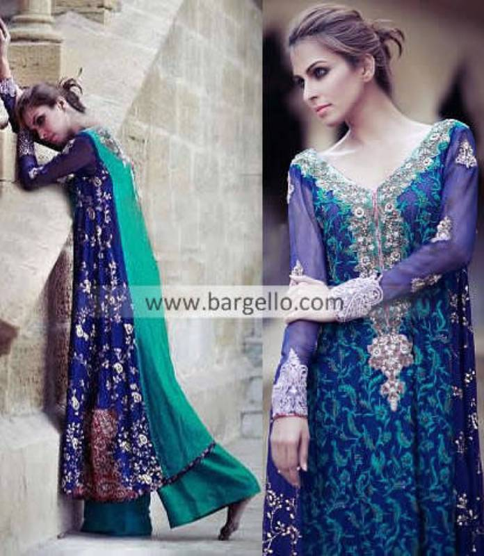 Party Evening Outfits 2013 by Tena Durrani Houston TX, Embroidered Wedding Suits by Tena Durrani TX