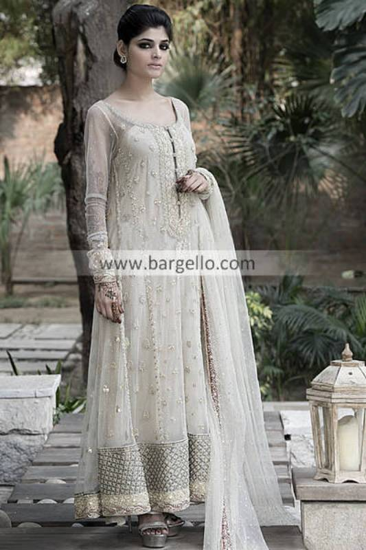Off White Anarkali Outfits by Elan San Jose CA, Embroidered Anarkali Suit for Wedding Parties