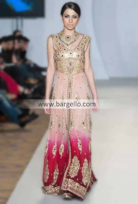 Latest Party Wear Long Evening Gown Dresses with Embroidery 2013 by Shazia Kayani San Francisco CA