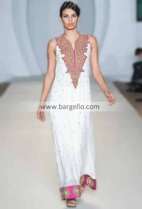 Off White Designer Party Wear Suit For Barat & Walima in Chiffon with Pink Embroidery San Jose CA