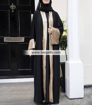 Black and Gold Stardust Open Abaya Basel Switzerland Perfect Choice Jilbab