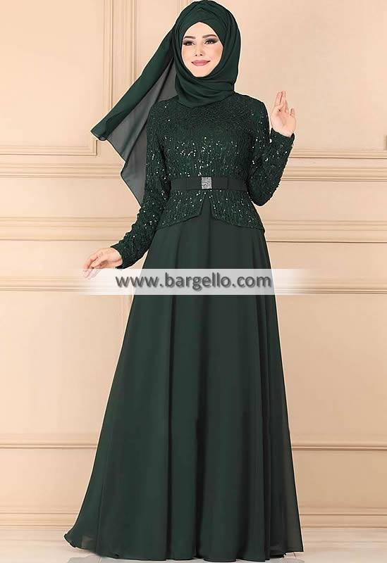 Dark Green Foxglove Fremont California CA USA Classic Embroidered Jilbab