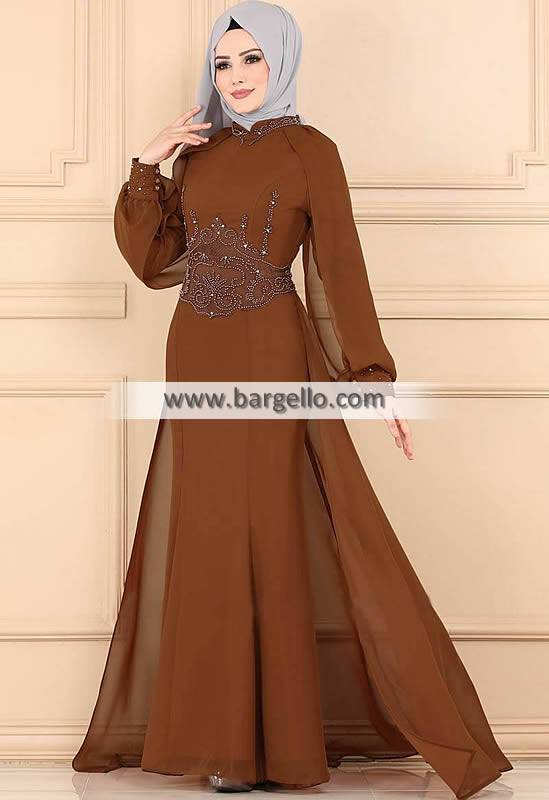 Brown Crocus Los Angeles LA California CA USA High Quality Embroidered Jilbab