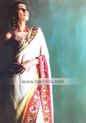 Designer Collection of Sarees Pakistani Indian Sari with Floral Embroidery
