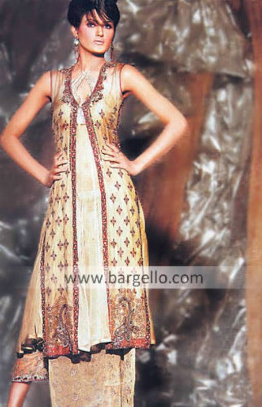Golden Tea Length Dress with Traditional Paisley Embroidery from Pakistan