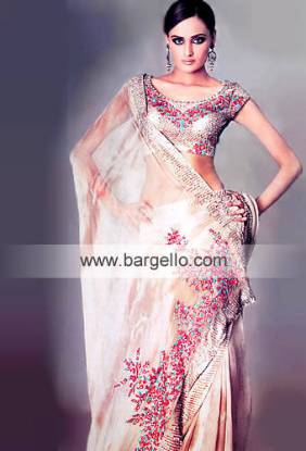 Pakistani Sari in Champagne and Beige Marble Dye Amazing Pakistani Saree