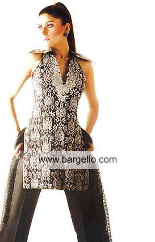 Black heavily embellished top having Pakistani embroidery made in Pakistan eastern dresses