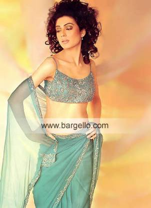 Aqua Mist Fully Embellished Blouse and Sari Pakistani Indian Sari Designers Designer Sari