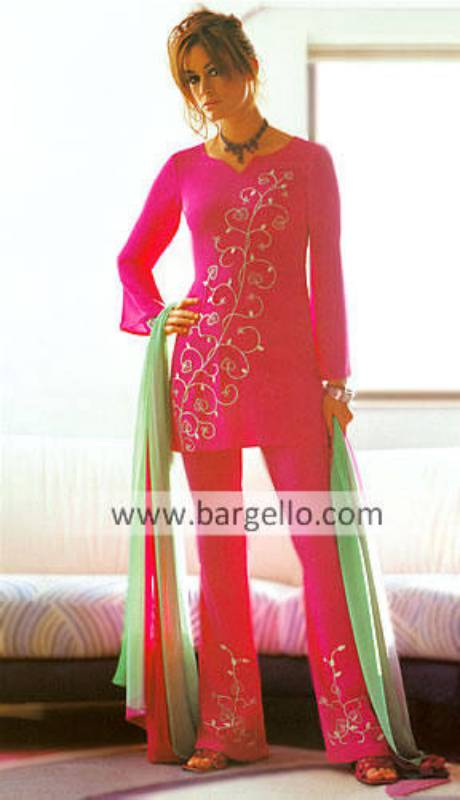 Hot Pink Casual Pakistani Designer Dress Trouser Suit