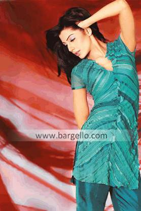 Green Chiffon and Silk Casual Dress with Stripes