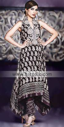 Black Pakistani Designer Evening Wear Embroidered Dress