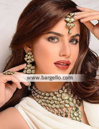 Handmade Kundan Jewellery Sets, Green Kundan Jewellery Sets, Pakistani Designer Kundan Jewellery Sets, Artificial Jewellery Sets