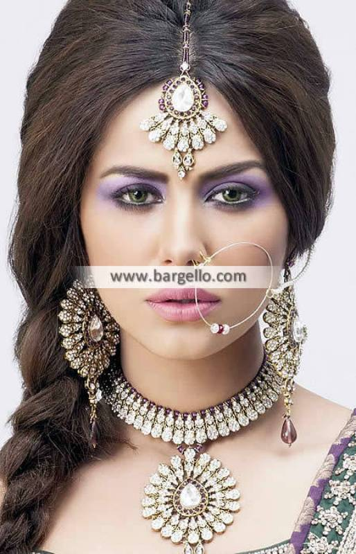 Gold Plated Zircon Stone Jewellery Sets Studded Bridal Set with Maang Teeka and Nose Ring