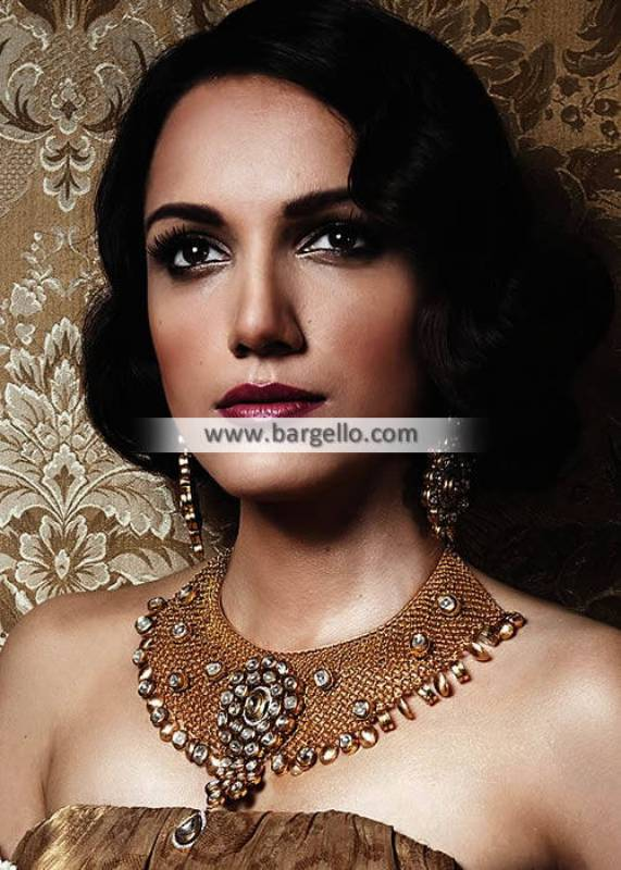 Pakistani Designer Gold Plated Necklace and Earrings Jewellery Set London UK