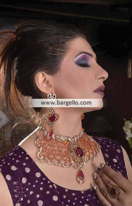Elegant Pakistani Artificial Jewelry Sets Los Angeles USA Zircons Ruby Kundan Set