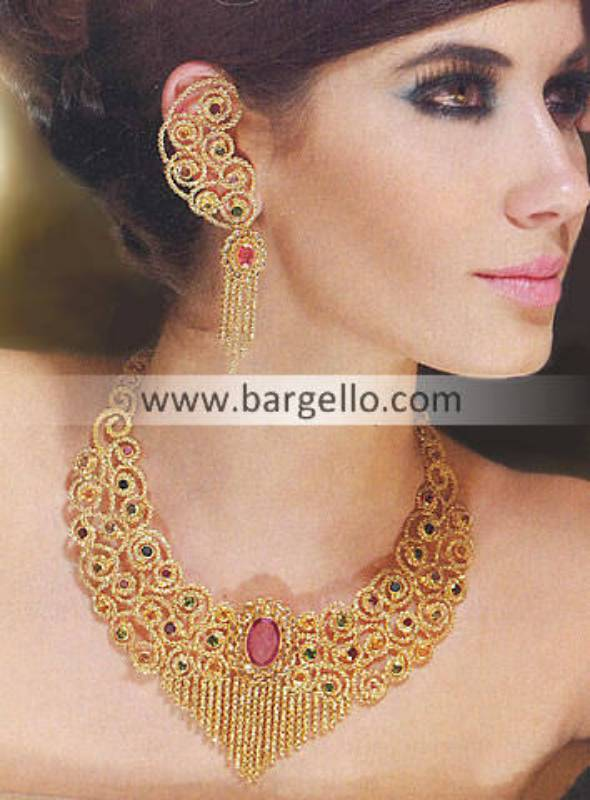 Indian Pakistani Silver Gold Plated Jewelry with Emerald Fuchsia Ruby Garnet Amethyst Studding