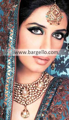 Indian Pakistani Gold Plated Jewelry, High Fashion Cosutme Gold Plated Jewelry With Bangles Necklace