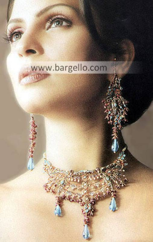 Jewellery Designs, Bridal Jewellery Designs, Pakistani & Indian Jewellery Gold Plated Diamond Like
