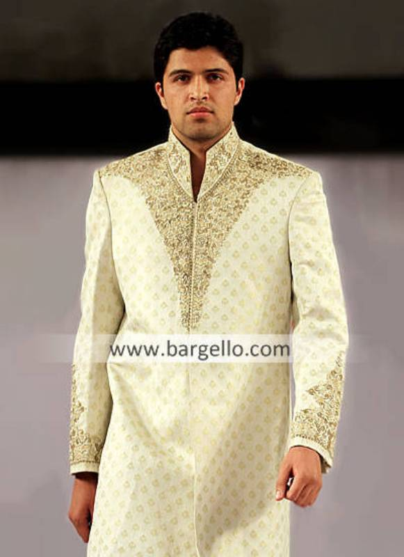 Men's Sherwani Florida USA, Designer Wedding Sherwani California USA, Embroidered Black Sherwani NY