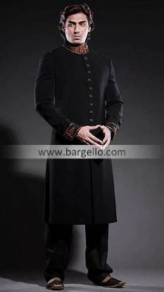 Black Sherwani Collection South London, Amir Adnan Deepak Perwani Black Sherwani Blackburn UK