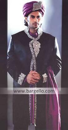 Black Sherwani Birmingham, Raw Silk Sherwani California San Diego, Indian Menswear Jackson Heights