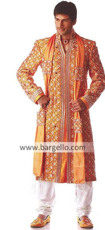 Designer Wedding Embroidered Sherwani, Raw Silk Embroidered Designer Sherwani Pakistan India