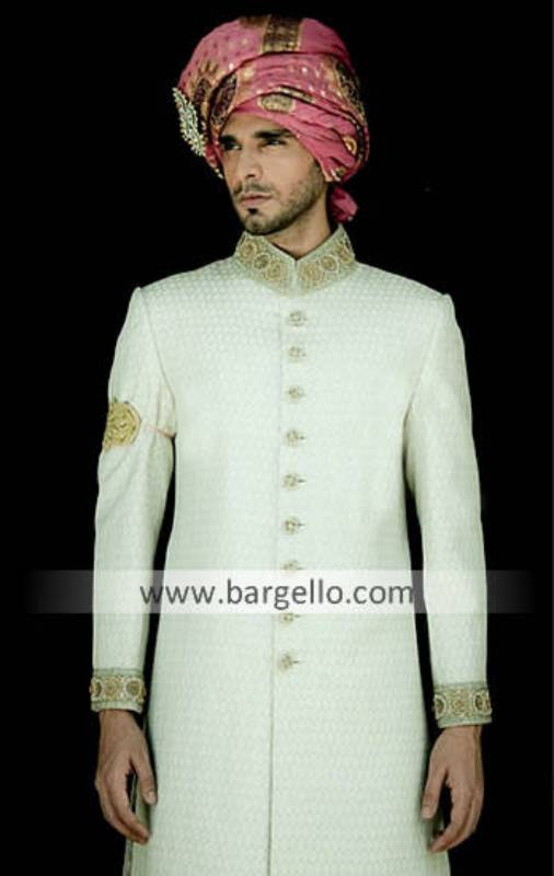 Off White Sherwani Kullah Khussa, Royal Off White Jamawar Sherwani with Artistic Thread Work