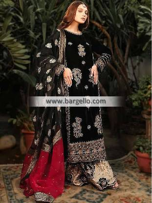 Pakistani Party Wear, Pakistani Party Wear Seattle, Pakistani Party Wear Washington, Pakistani Party Wear USA, Velvet Shirt Suits, Palazzo Pants Suits, Pakistani Designer Suits, Ali Xeeshan Outlets Seattle Washington USA,